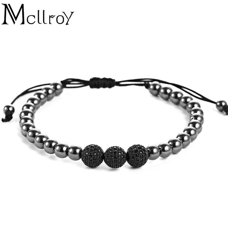 Mcllroy Mcllory Marca Homens Pulseiras, 8 milímetros Pave Definir CZ Preto Beads & Black Clolor 6mm Rodada Beads & Pulseira Trança Para Homens