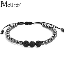 Mcllroy Mcllory Brand Men Bracelets,8mm Pave Setting Black CZ Beads & Black Clolor 6mm Round Beads & Braiding Bracelet For Men