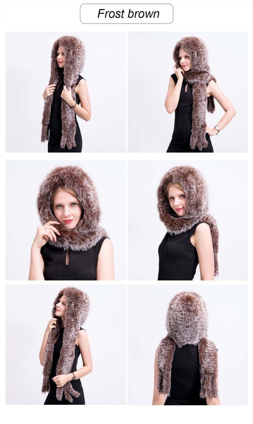 knit fox fur hat scarf color 2