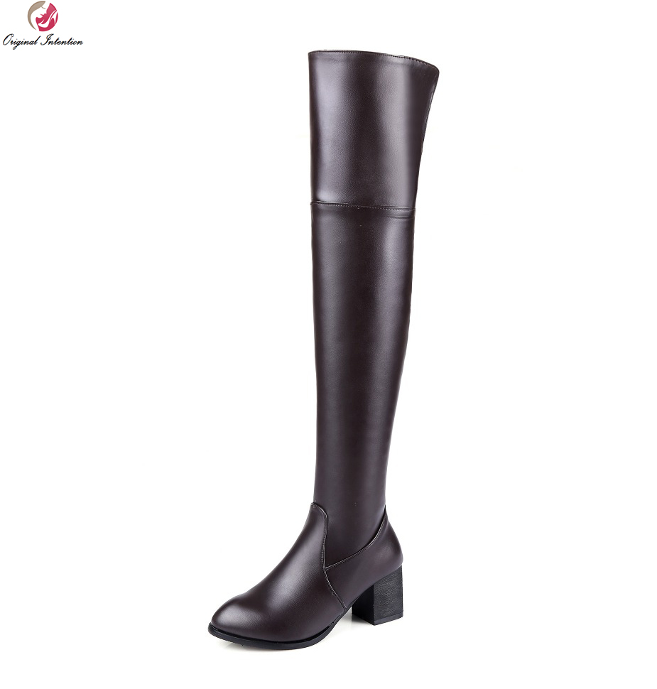 Original Intention Women Over the Knee Boots Pointed Toe Square Heels Winter Boots Black White Brown Shoes Woman US Size 4-15 the woman in white