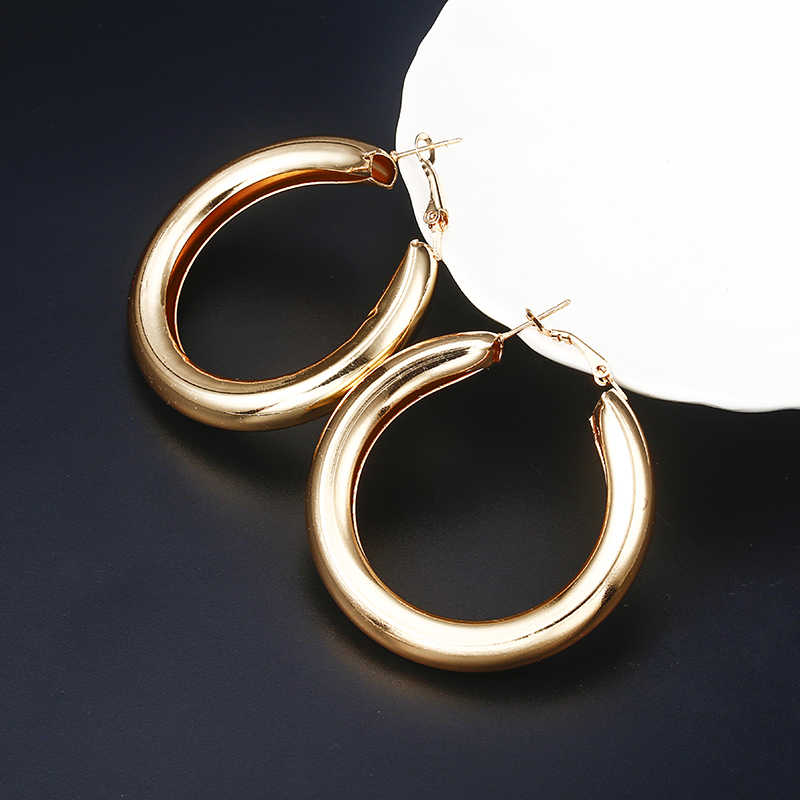 Gold Silver Hoops Earrings Minimalist Thick Tube Round Circle Rings Earrings For Women earrings fashion jewelry Charms Trendy
