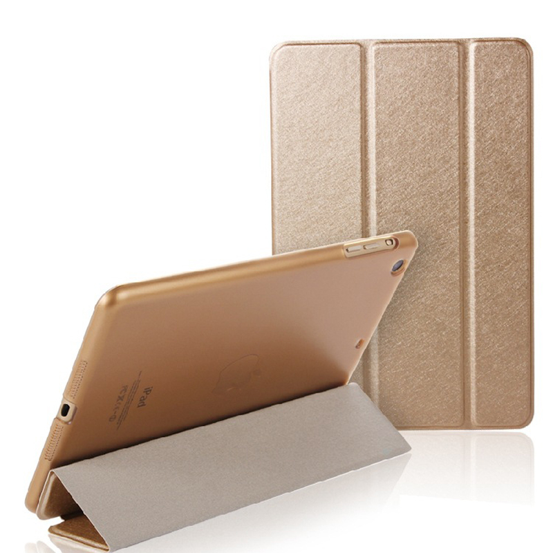 Silk texture artificial leather folding folio case stand CDR1 for ipad 2 3 4 5 6 8 2017 mini 1 2 3 4 pro 9.7 10.5 12.9 case image