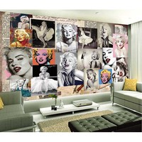 picture in picture Luxury European Modern Star Monroe Poster Design Mural 3D Wallpaper Wholesale Non-woven Background Wallpaper