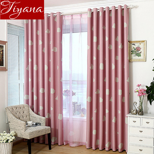 Modern White Cloud Printed Voile Pink Curtains Window Screen Yarn ...