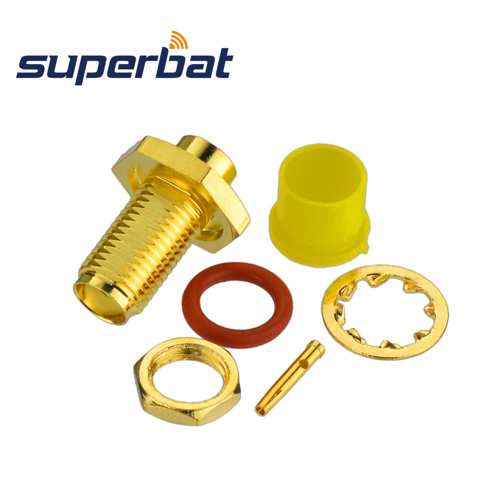 Superbat SMA Solder Female Jack Bulkhead With O-ring RF Coaxial Connector For Semi-rigid Cable .141'' , RG402