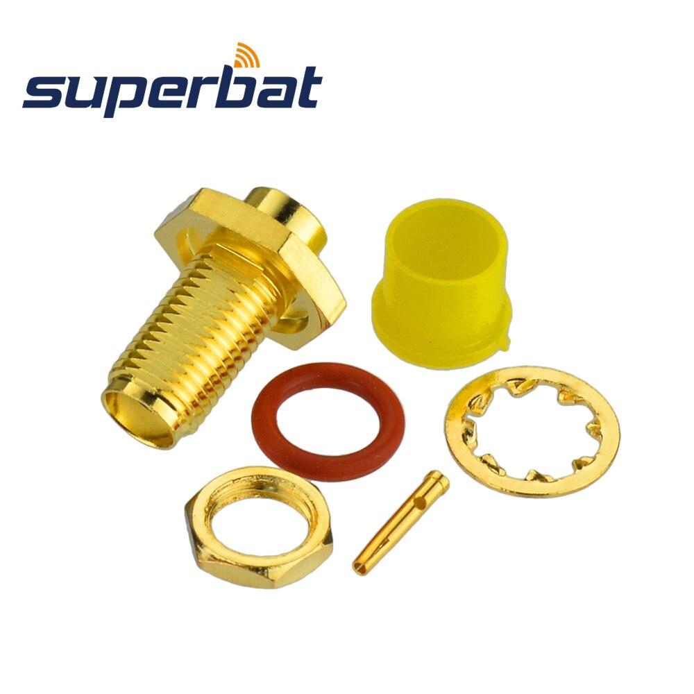Superbat SMA Solder Female Jack Bulkhead With O-ring RF Coaxial Connector For Semi-rigid Cable .141'' , RG402