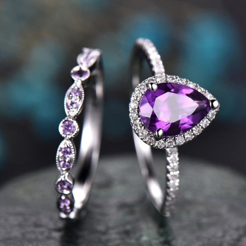 Boho Female Purple Water Drop Ring Set Fashion 925 Silver Love Engagement Amethyst Ring Vintage CZ Wedding Rings For Women