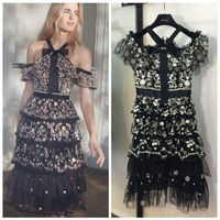 Valentine's Day Dress Fashion word thorn embroidered dress Shoulder sexy dress