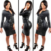 Plus Size Sexy Club Dress Women Clothing Black Snakeskin Faux Leather Zipper Bodycon BBW 2015 Summer