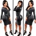 Plus tamaño atractivo del club dress ropa mujer negro serpiente de imitación de cuero con cremallera bbw 2017 verano nuevo lápiz del vendaje de bodycon dress