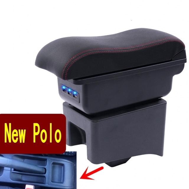 Für Polo armlehne box Polo V universal 2009 2018 auto center konsole änderung zubehör doppel angehoben mit USB