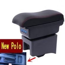폴로 암 레스트 박스 폴로 V 유니버설 2009 2018 자동차 센터 콘솔 수정 액세서리 더블 USB 제기