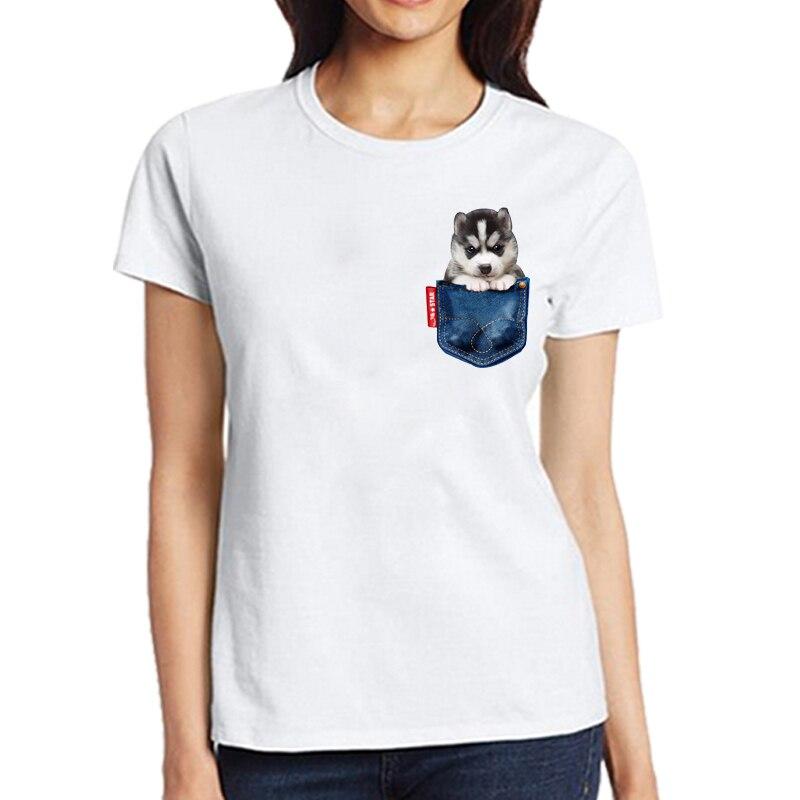 Pet Husky Dog Print Tees Funny Jean Pocket T-Shirts Men Women Short Sleeve Summer Tops Casual T Shirt Cute Cotton TShirt Woman