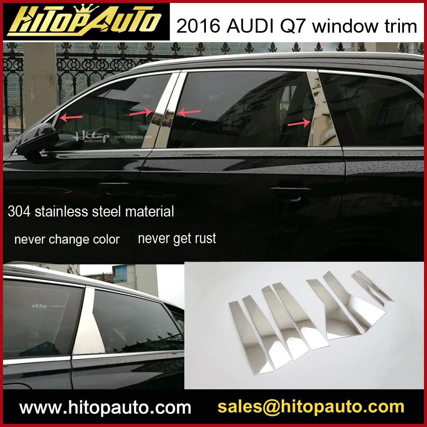 Q7 window trim/window sill/cover,304 stainless steel trim,excellent quality,(Bpillar) total 8PCS,ISO quality,Asia free shipping. scosche magicmount window