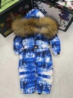 brand 2019 Winter baby down coat Baby duck down suit outerwear Fur Hooded children's Snowsuit Child jumpsuit romper ski suit