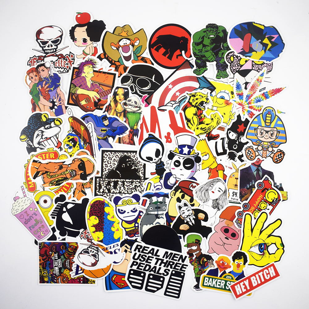 7 different styles cartoon stickers 50pcs bag mixed stickers for laptop car waterproof decoration decals