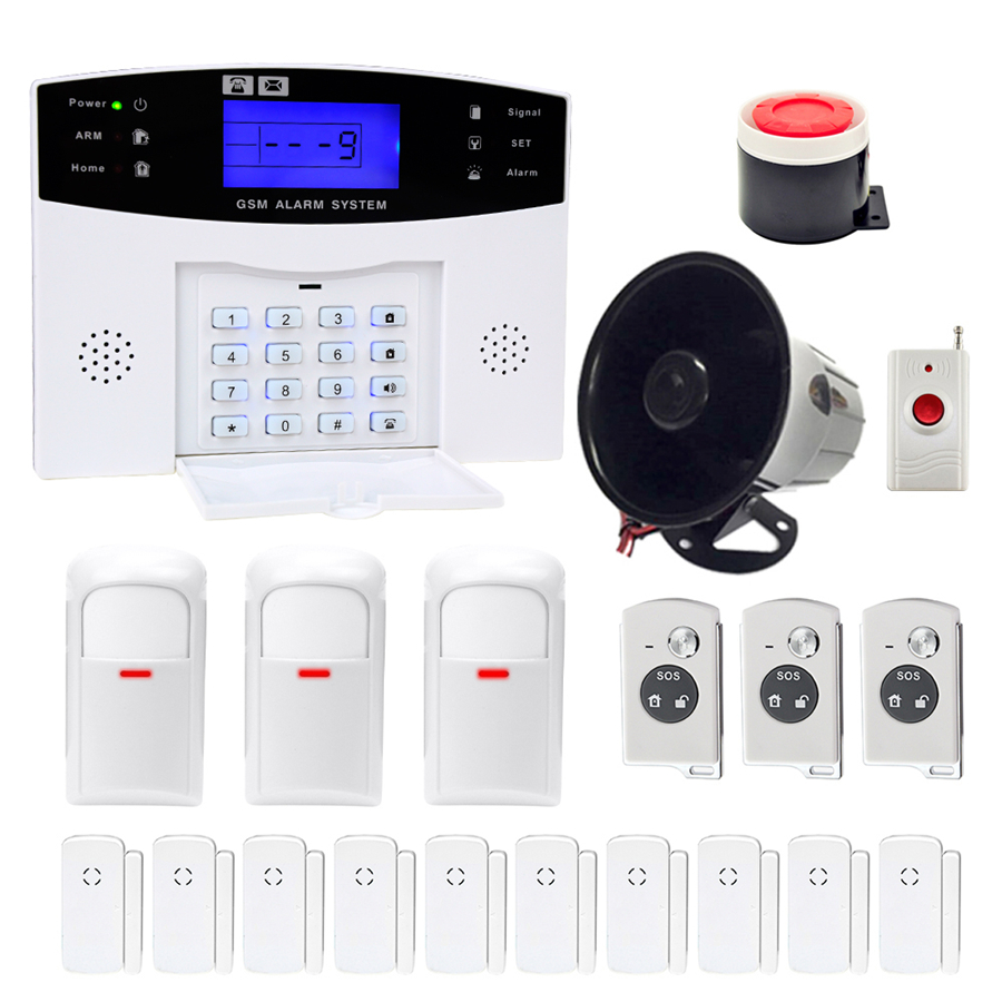 Minritech Home Security GSM Alarm System Wireless/Wired SMS Burglar Voice Alarm System Remote Control Set Arm/Disarm KIT HOT dhl shipping tele call lcd gsm sms home burglar security alarm system detector sensor remote control voice broadcast s100pro