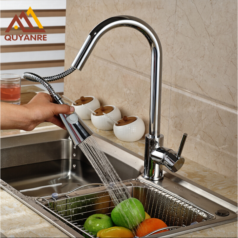 Chrome Kitchen Pull Out Spryaer Head Single Lever Deck Mounted Kitchen Water Taps