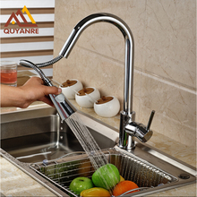 Chrome Кухня Pull Out Spryaer Голову Одним Рычагом На Бортике Кухня Водопроводные Краны