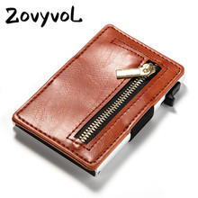 ZOVYVOL  2019 New Arrival Credit Card Holder Business PU Leather Carbon Fiber Black Wallet Case RFID Blocking Purses