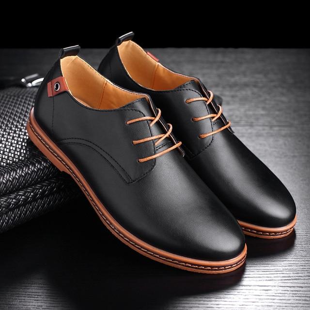 23d33124954 Plus Size 38-48 Men Shoes Oxford Patent Leather Shoes Solid Color Lace Up  Black Brown Daily Casual Men Dress Shoes D