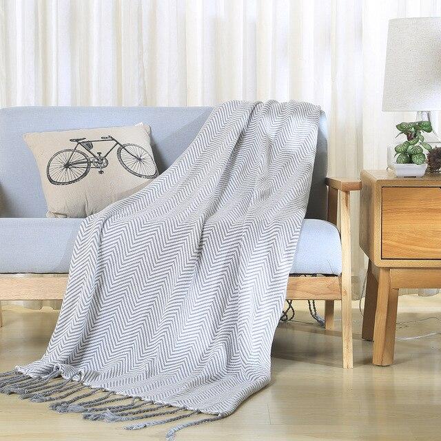 Gestreifte Gestrickte Decken für betten Baumwolle Grau Quaste Plaids ...