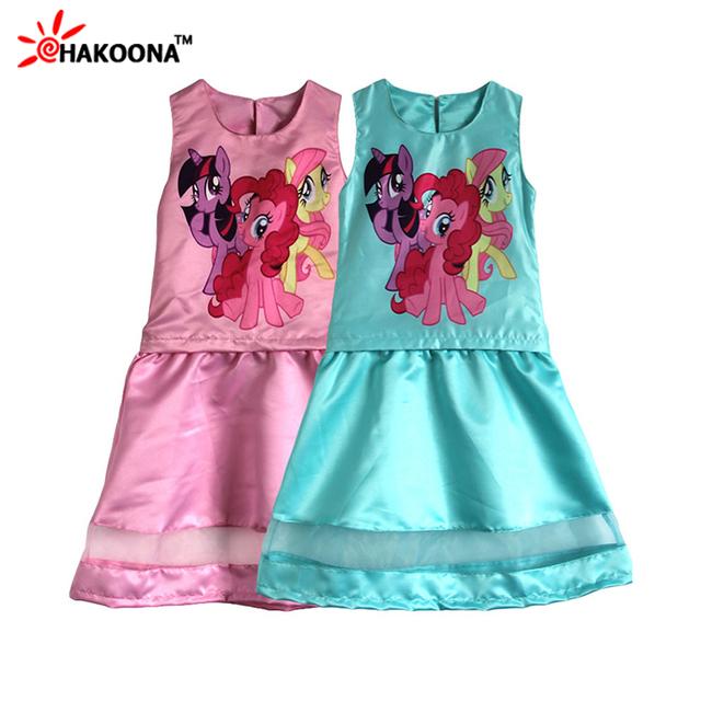 2016 Nova Primavera Roupas Meninas Define 2 Peças/set Colete + Vestido Curto Pequeno Cavalo Impresso Decoração Crianças dos miúdos Roupas