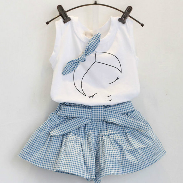 2018 Brand Summer Girls Clothing Sets Fashion Cotton print short sleeve T-shirt and shorts girls clothes sport suits