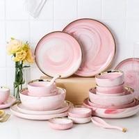 KINGLANG Pink Phnom Penh Marble Ceramic Cutlery Set Simple Household Dishware Dish Set