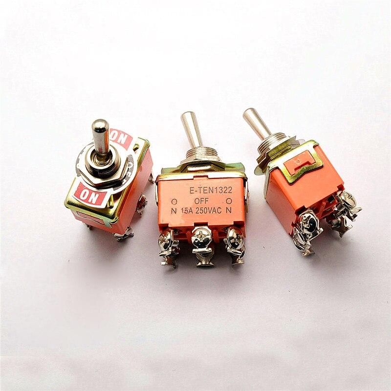 Toggle switch, interruptor de balancim, interruptor E-TEN1322 6 pés 3 barracas 15A 250 V
