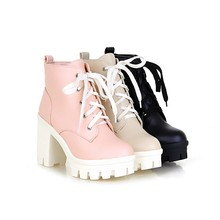 MORAZORA 2017 New Fashion sexy women's ankle boots lace up high heels Punk platform Women autumn winter snow boots ladies shoes