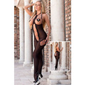 The Qixi Festival Valentine's New Black Halter Chiffon sleeveless openwork transparent leotard Siamese pajamas 3250