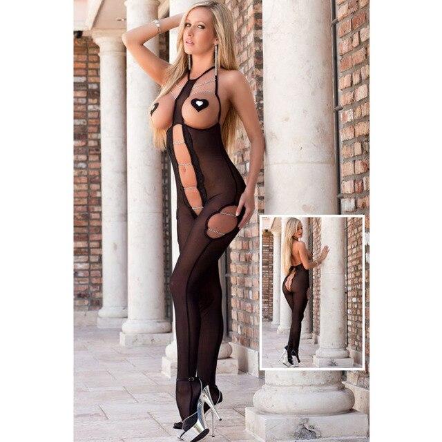 The Qixi Festival Valentine's New Black Halter Chiffon sleeveless openwork transparent leotard Siamese pajamas 3250