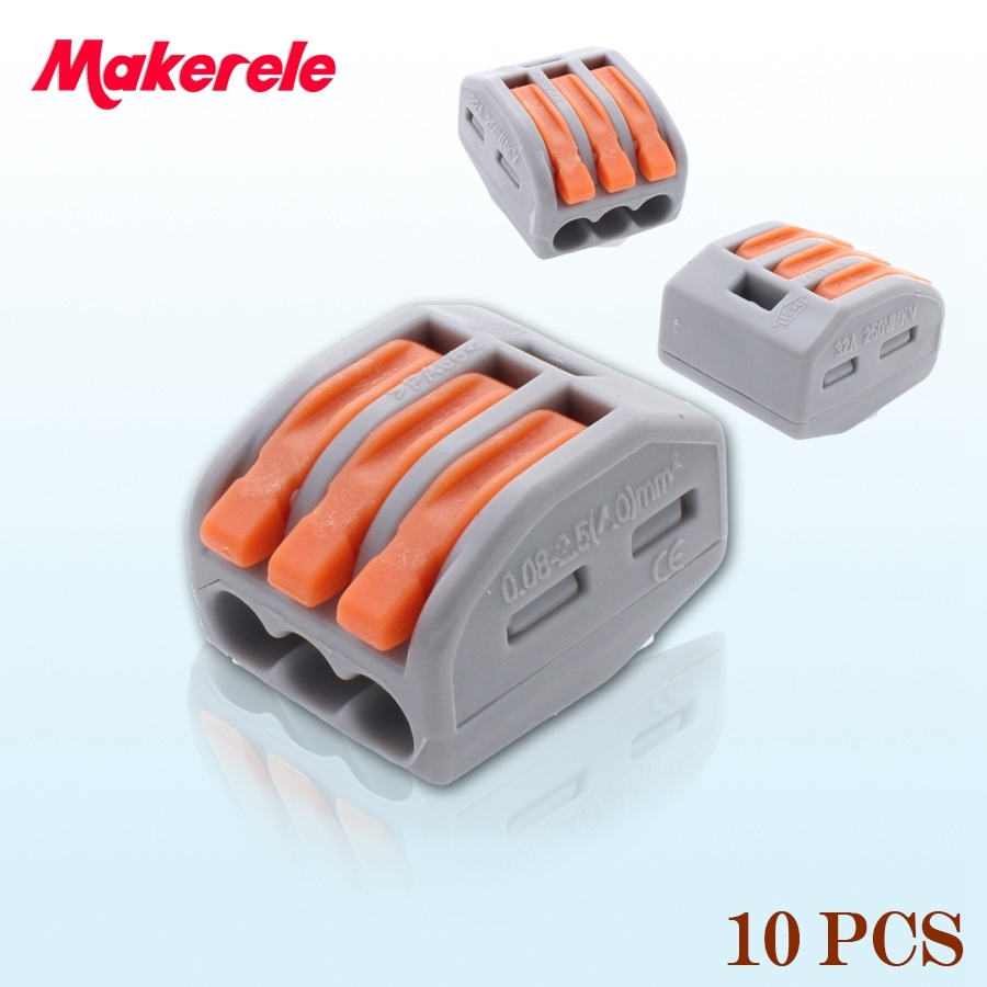 10pcs Makerele 222-413 Universal Compact Wire Wiring Connector 3 pin Conductor Terminal Block With Lever AWG 28-12 1pcs 222 415 universal compact wire wiring connector 5 pin conductor terminal block with lever awg 28 12