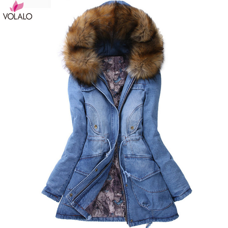 2019 Winter Coat Women Denim Jackets Big Faux Fur Hooded Thick Warm Outwear Casual Long Cotton Padded Women Jeans   Parkas   Denim