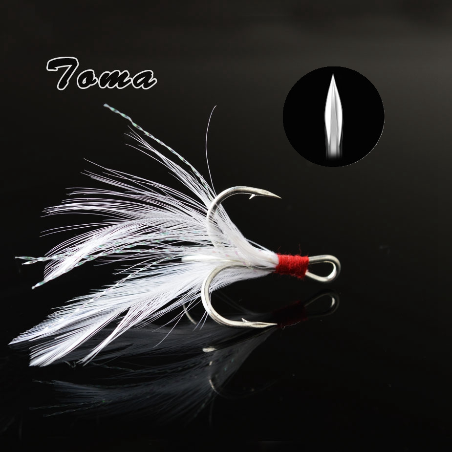 10pcs Strong Artificial Feather Fishing Hooks Trailer Treble Hooks 4 Sizes
