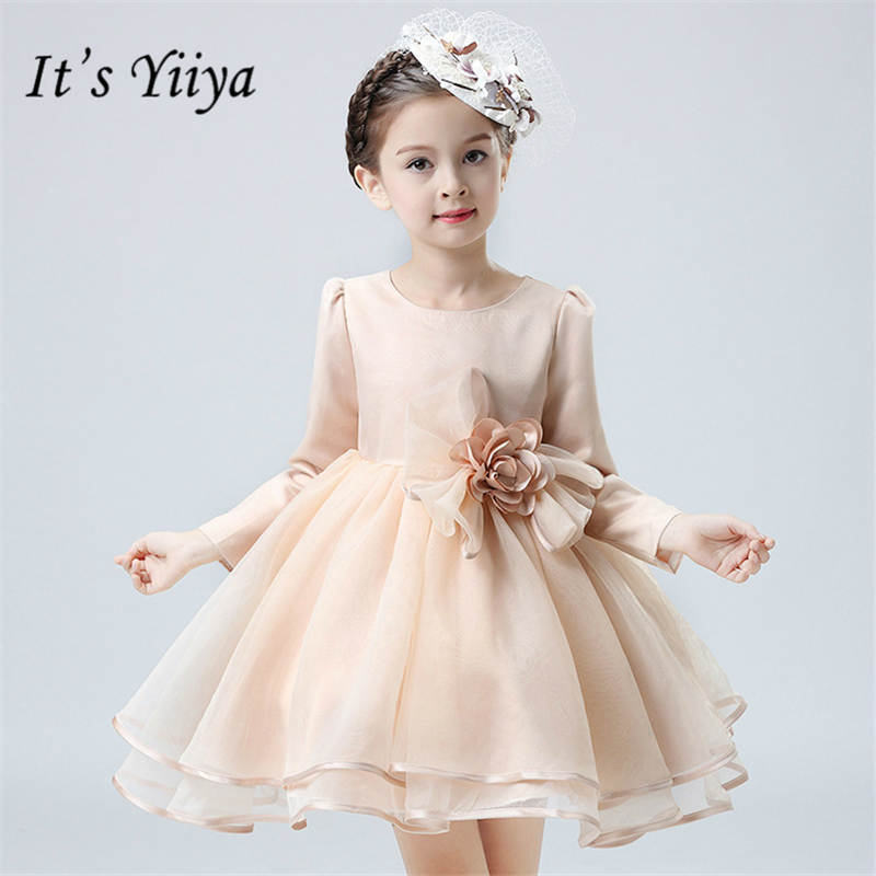 It's yiiya Fashion Long Sleeve   Girl     Dresses   Elegant O-neck Tea-length   Flowers     Girls     Dress   B002