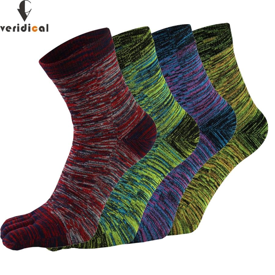 VERIDICAL 5 Pairs Toe Socks For Man Cotton Colorful Five Finger Socks Meia Masculina Funny Socks Sokken Vintage Mans Socks