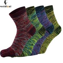 VERIDICAL Calcetines de algodón con cinco dedos para hombre, calcetín colorido, Estilo Vintage, 5 pares