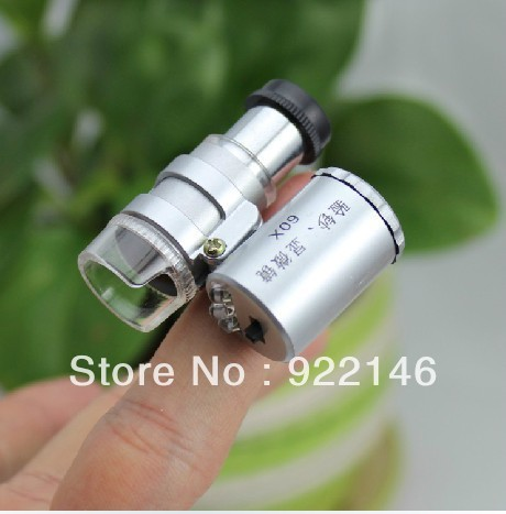 50pcs Mini Adjustable Portable Pocket Microscope Magnifier Reading Microscope LED Light magnifying glass 60x Jewelry Microscope