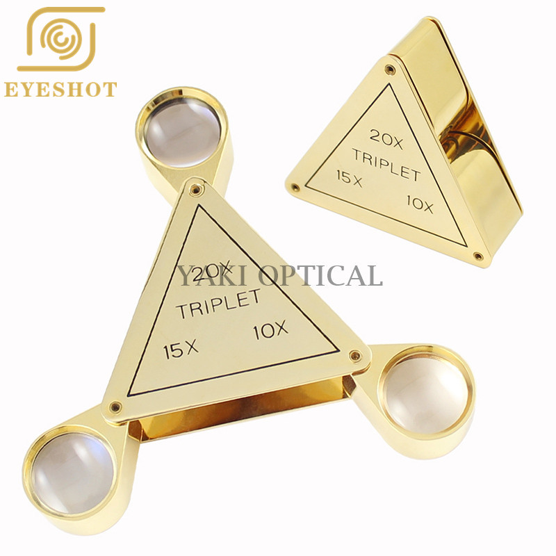 Triangular high-grade folding magnifying glass, three optical glass lens jewelry magnifying glass 10x/15x/20x optical glass
