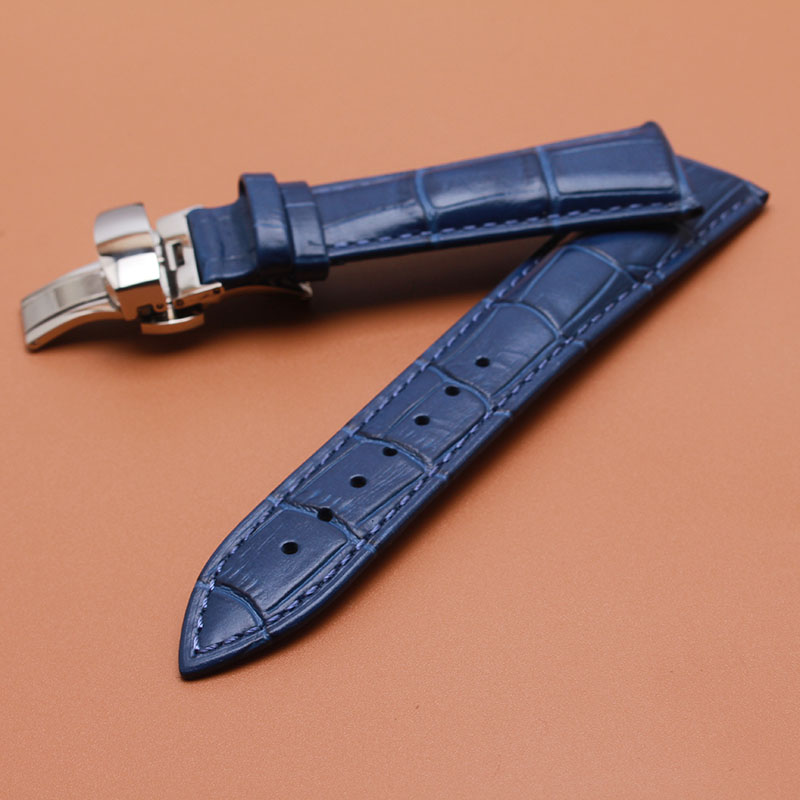 Permalink to Watchband Quality Genuine Leather Watch band 14mm 16mm 18mm 20mm 22mm dark Blue watchbands strap silver clasp Watch Accessories