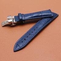 Bracelet Qualité Véritable bande de Montre En Cuir 14mm 16mm 18mm 20mm 22mm Bleu foncé bracelets bracelet fermoir en argent Montre Accessoires