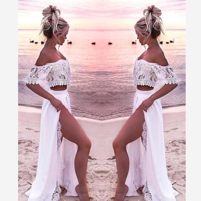 Summer Hot Women 2018 Sexy Lace One Shoulder Split Floor-Length vestido  Party Dress White 14b8dfc0e42d