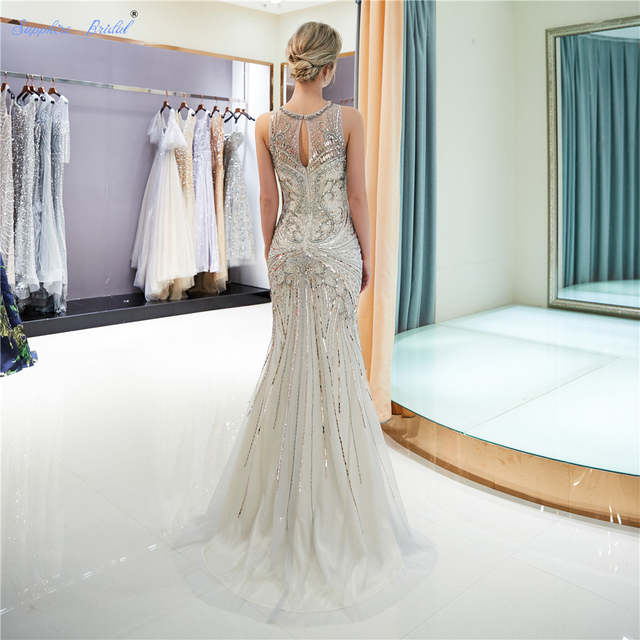 6a8fce81897 Sapphire Bridal 2019 Women s Formal Evening Gowns Tulle Huge Beading Sparkly  Scoop Sexy Mermaid Gold Silver