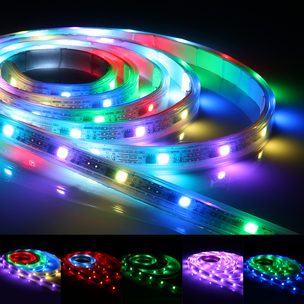 Zanflare S2 2M 60LED Multicolor 15W LED Lighting Strip SMD 5050 RGB Waterproof Flexible LED Strip String Light AC 110V 240V