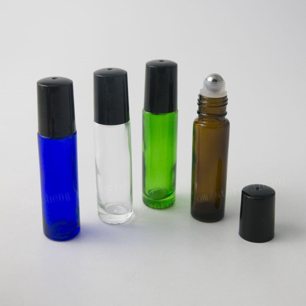 50 x 10ml Cobalt blue Green Amber Clear Gass Roll On Bottle 1 3oz Roller Ball