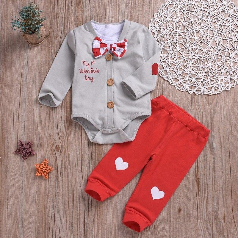 Bebé niño conjuntos de ropa de algodón Caballero corto Camiseta blanco + blanco mamelucos + amor pantalón 3 unids/set