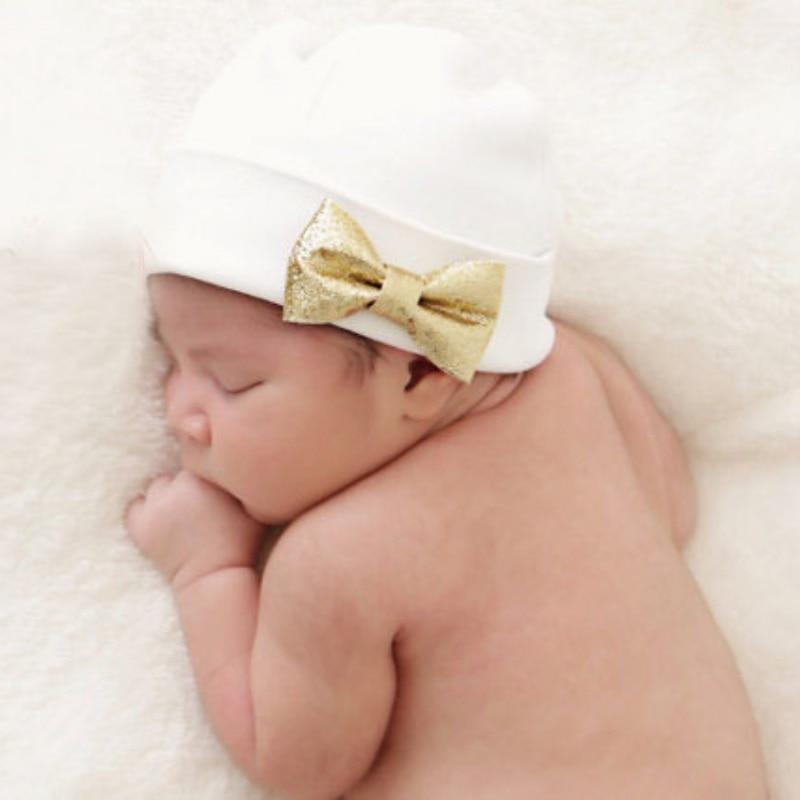 Newborn Baby Hat Infant Toddler Warm Winter Autumn Newborn Solid Caps Hospital Hats Soft Beanies Bow Hats 0-6M