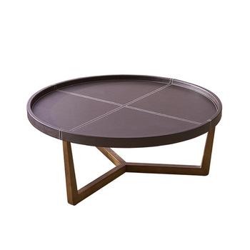 Stoliki do kawy meble do salonu drewniane meble domowe z skóra okrągły stolik do herbaty basse minimalistyczny nowoczesne biurko 99 5*99 5 tanie i dobre opinie Meble do domu Minimalistyczny nowoczesny ROUND China 99 5*99 5*40 5CM Panel Melaminy Ecoz Montaż